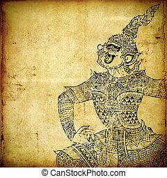 antigas, ramayana, tradicional, papel, arte, tailandês,...