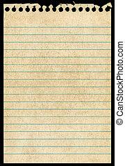 antigas, rasgado, isolado, experiência., notepaper, pretas, página