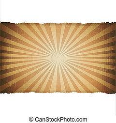 antigas, rasgo, papel, fundo, branca, sunburst