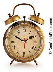 antigas, relógio, alarme, isolado, fundo, branca