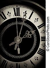 antigas, relógio, cima fim