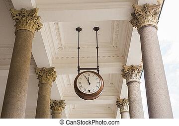 antigas, relógio, em, a, local, treine estação