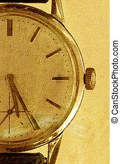 antigas, relógio, ligado, um, ouro, grunge, fundo