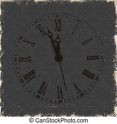 antigas, relógio, romana, números, fundo, grunge