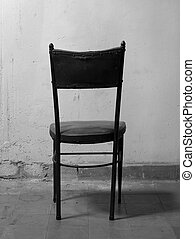 antigas, room., pretas, sujo, tom, cadeira, branca