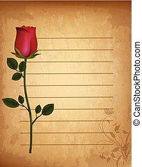 antigas, rosa, ornamento, realístico, papel, floral, alinhado, pergaminho, vermelho