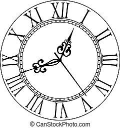 antigas, rosto relógio, com, algarismos romanos
