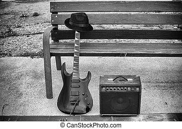 antigas, rua, equipamento música