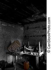 antigas, sótão, com, e, teto, com, viga madeira