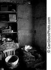 antigas, sótão, com, teto, com, viga madeira