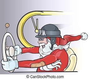 antigas, santa, dirigindo, claus, saudação, carro., fundo, poster., cartão natal