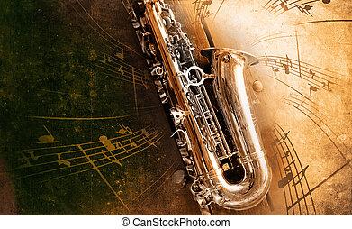 antigas, saxofone, sujo, fundo