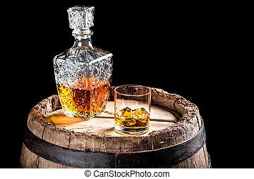 antigas, scotch, provando, em, a, adega