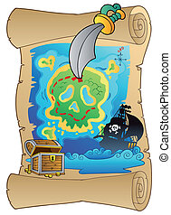 antigas, scroll, com, mapa pirata