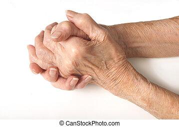 antigas, senhoras, mãos apertaram