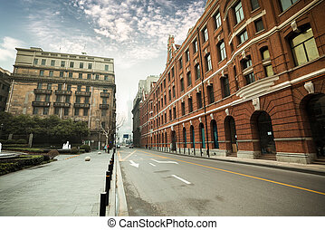 antigas, shanghai, edifícios históricos