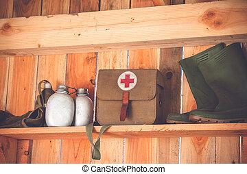 antigas, shelfe, madeira, medic, equipamento, retro