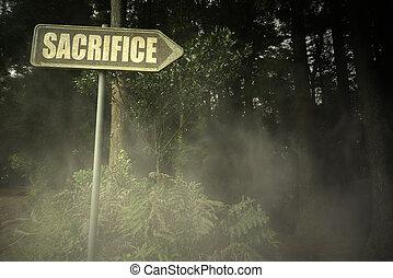 antigas, signboard, com, texto, sacrifício, perto, a, sinistro, floresta