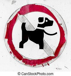 antigas, sinal, indicar, nenhum cachorro, allowed.