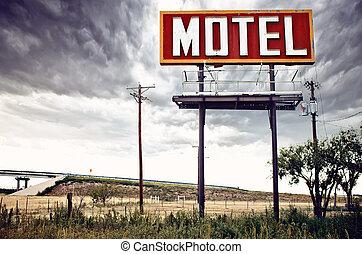antigas, sinal motel, ligado, rota 66, eua
