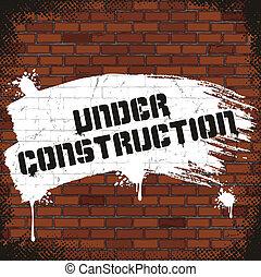 antigas, sinal, pintado, construção, sob, parede tijolo