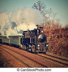 antigas, specially, tcheco, train., vapor, republic., histórico, trem, viajando, viagens, lançado, ao redor