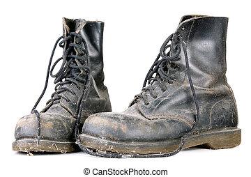 antigas, sujo, sapatos