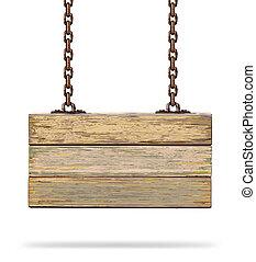 antigas, tábua madeira, com, enferrujado, chain.