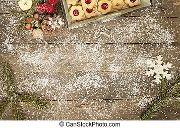 antigas, tabela, decorado, wintry
