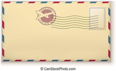 antigas, taxa postal, envelope, com, selos, isolado, branco, experiência.