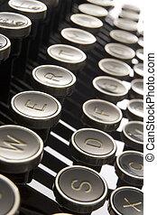 antigas, teclas, cima, formado, fim, máquina escrever