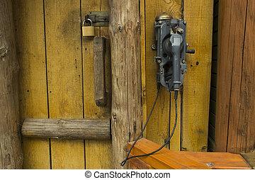 antigas, telefone, ligado, um, madeira, alojamento