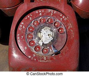 antigas, telefone., rotativo, vermelho