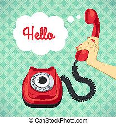 antigas, telefone, segurando, mão