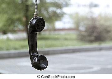 antigas, telefone, tube.vintage, e, retro., cabina telefônica, em, a, park.