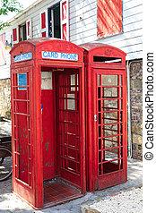 antigas, telefone vermelho, bancas