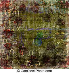 antigas, texto, abstratos, rasgado, fundo, borrão, grunge,...