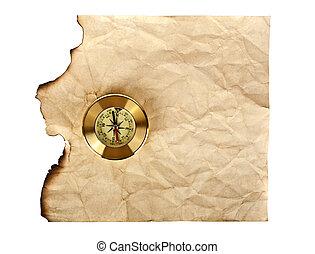 antigas, textura, papel, fundo, compasso, branca