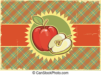 antigas, texture.vector, etiqueta, papel, fundo, apples.vintage, illu