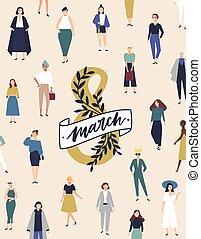 antigas, torcida, femininas, sorrindo, cartão, jovem, day., characters., modelo, internacional, irmandade, feliz, apartamento, movement., março, cartaz, ilustração, mulheres, voador, 8, feminista, saudação, vetorial, ou