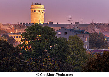 antigas, torre água, em, piotrkow