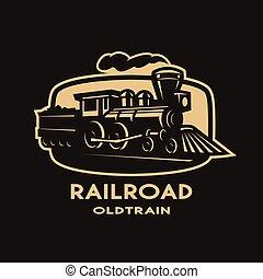 antigas, trem, logo., vapor, emblema