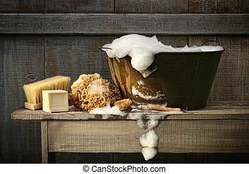 antigas, tub lavagem, com, sabonetes, ligado, banco