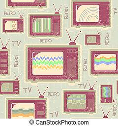 antigas, tv, seamless, textura, pattern.vintage, fundo