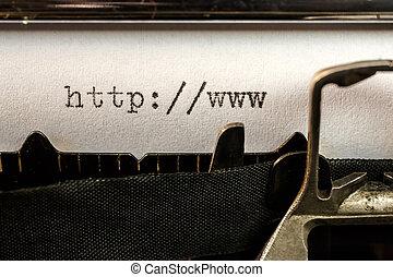 antigas, url, texto, escrito, começando, máquina escrever