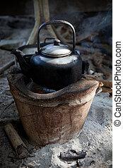 antigas, usado, chaleira, ligado, tradição, fogão, com,...