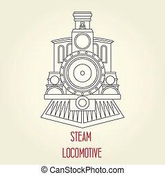 antigas, vapor, locomotiva, vista dianteira, -, vindima, trem