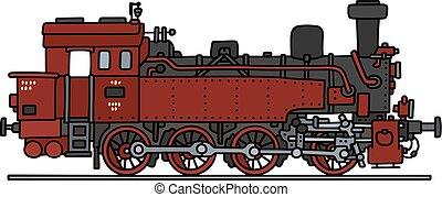 antigas, vapor, vermelho, locomotiva