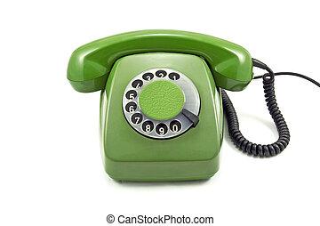 antigas, verde, análogo, telefone