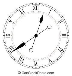 antigas, vetorial, pretas, relógio